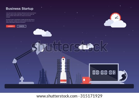 Picture of a space rocket ready to launch, flat style concept for business startup, new product or service launch themes