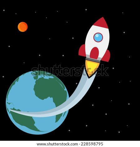 picture of a space rocket starting from the Earth - stock vector