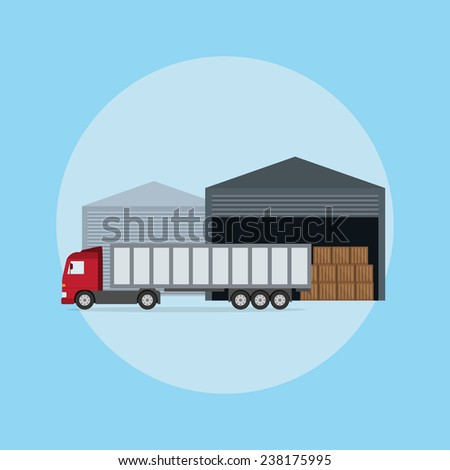 picture of a truck in front of the warehouse, flat style illustration - stock vector