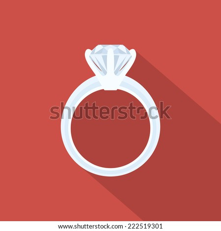 Picture of a white gold ring with diamond, flat style illustration - stock vector