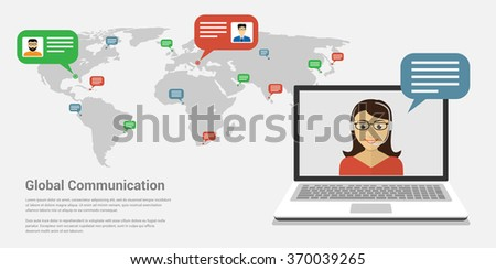 Picture of a woman on laptop's screen with world map on background. Global communication,internet communication technology concept. Flat style template for web banners,printed materials,infographics.