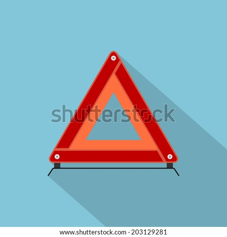 picture of automobile emergency stop sign, flat style icon