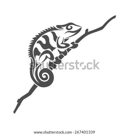 picture of black and white chameleon lizard in tribal style on white background - stock vector