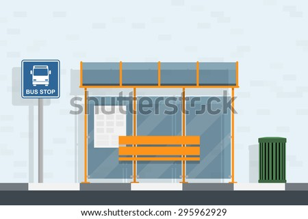 picture of bus stop, bus stop sign and trash can, flat style illustration - stock vector