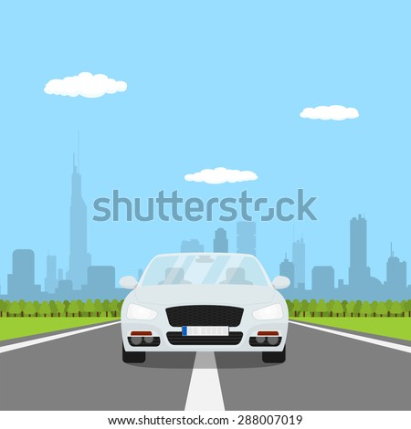 picture of car on the road with forest and big city silhouette on background, flat style illustration - stock vector