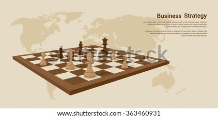 picture of chessboard with chess figures on it, flat style banner design of business strategy concept