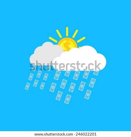 picture of clouds, sun in form of coins and rain in form of banknotes - stock vector