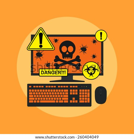 picture of computer with skull, bugs on its screen and danger signs, flat style illustration, spyware, virus infection concept - stock vector
