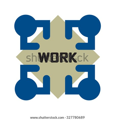 Picture of crew alliance deal ideograph. Squad of four intelligent people council debate help idea on all sides of square table in office room. Top view of stage concept creative art graphic design - stock vector