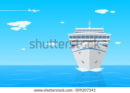 picture of cruise liner in the sea, front view, flat style illustration on vacation, travel, holidays concept - stock vector