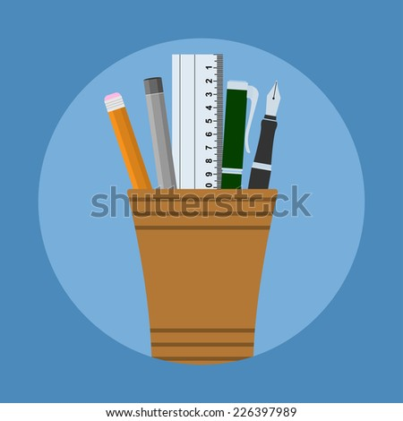 picture of glass with two pens, two pencils and ruler, flat style illustration - stock vector