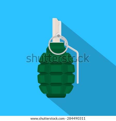 picture of green grenade on blue background, flat style illustration - stock vector