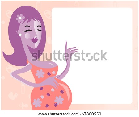 picture of happy mother. baby arrival - stock vector