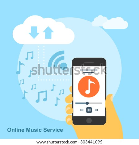 picture of human had with smartphone playing song and connected to the cloud service, flat style concept for online music service - stock vector
