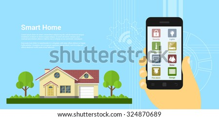 picture of human hand holding smartphone with house monitoring icons, flat style concept of a smart home - stock vector