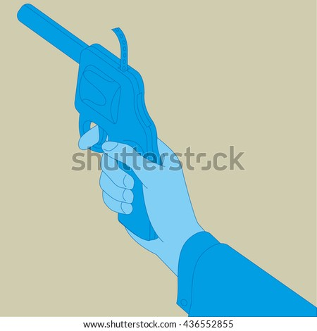 Picture of human hand with gun - stock vector