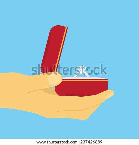picture of human hand with wedding ring, flat style illustration - stock vector