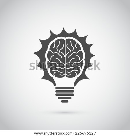 Picture of light bulb in form of human brain, idea, creativity, innovation concept - stock vector