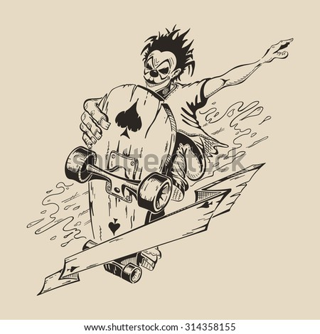 Picture of Man in mask of clown to perform tricks on a skateboard. Vector design. - stock vector