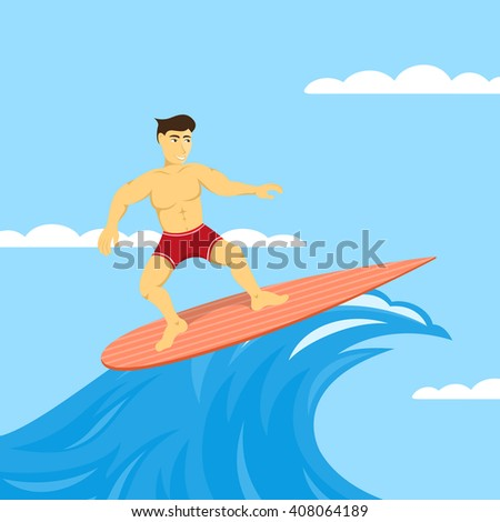 picture of man on surfboard, surfing in the sea, leisure activity concept, flat style illustration