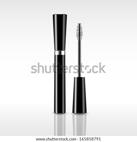 picture of mascara tube and mascara brush, vector eps10 illustration - stock vector
