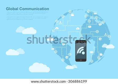 picture of mobile phone linked to the points around the world, global communication concept, flat style illustration