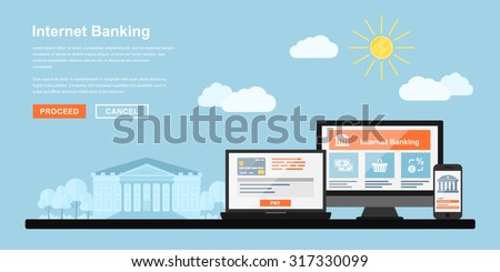 Picture of pc monitor, notebook and mobile phone with bank building on background, flat style concept for internet banking, online payments concept - stock vector