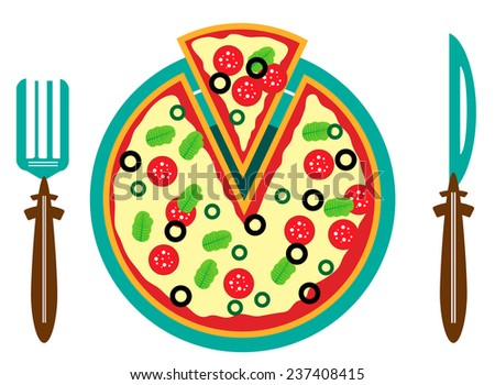Picture of plate with pizza and fork and knife - stock vector
