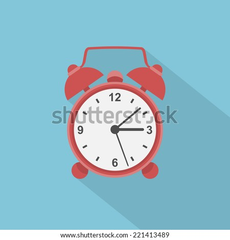 picture of red alarm clock, flat style illustration icon - stock vector