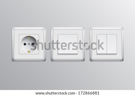 picture of single and double swithes and a socket, vector eps 10 illustration - stock vector