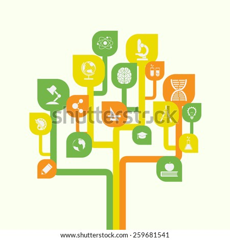 picture of stylized tree with icons, education, knowledge, science concept - stock vector