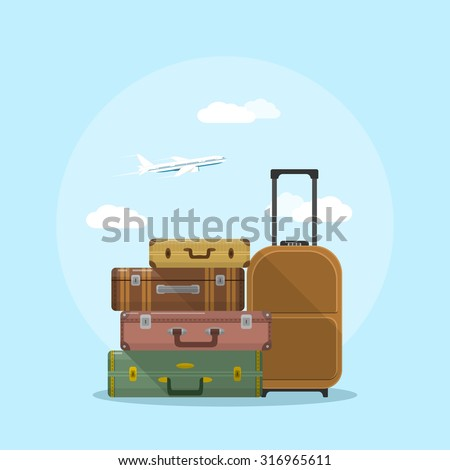 picture of suitcases stack with clouds and plane on background, flat style illustration, vacation and travel concept - stock vector