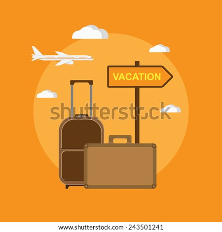 "picture of travel bags and signpost ""vacation"", flat style illustration - stock vector"