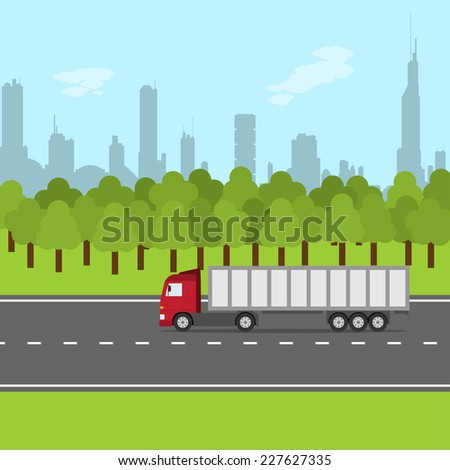 picture of truck on the road with forest and city silhouette, transportation concept - stock vector