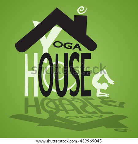 picture of yoga house - stock vector