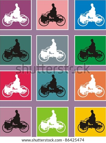 picture pop of old bicycle - stock vector