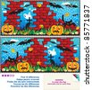 Picture puzzle: Find the ten differences between the two mirrored images of Halloween night scene ( for high res JPEG or TIFF see image 85771840 )  - stock