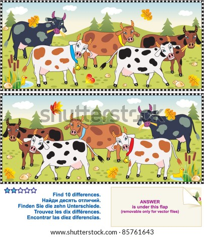 Picture puzzle: Find the ten differences between the two mirrored images of spotted milk cows ( for high res JPEG or TIFF see image 85761640 )  - stock vector