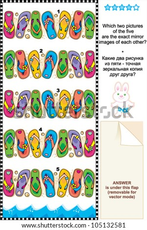 Picture riddle or visual puzzle suitable both for kids and adults: Which two pictures of colorful flip-flops are exact mirror images of each other? Answer included. - stock vector