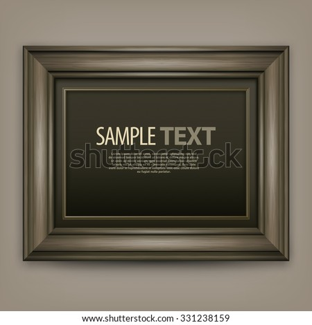 Picture wooden frame isolated on white, vector illustration - stock vector