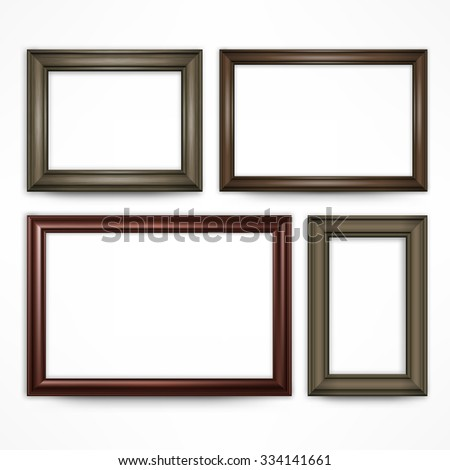 Picture wooden frames isolated on white, vector illustration - stock vector