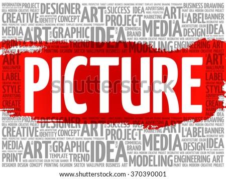 PICTURE word cloud, creative business concept background - stock vector