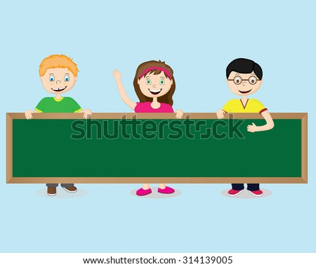 Pictures from the children and the school board - stock vector