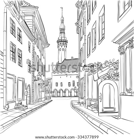 Picturesque view of Town Hall in Medieval Old Town, Tallinn, Estonia - stock vector