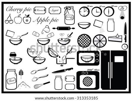 Pie baking set, cooking instruction - stock vector