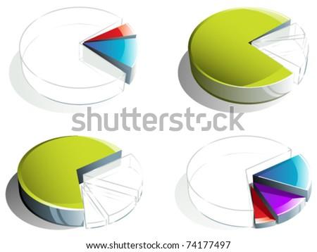Pie chart diagrams - stock vector