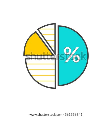 Pie chart flat sign design concept. Graph pie, infographics and pie chart, diagram marketing, report data, circle statistic, finance presentation, market information financial illustration - stock vector