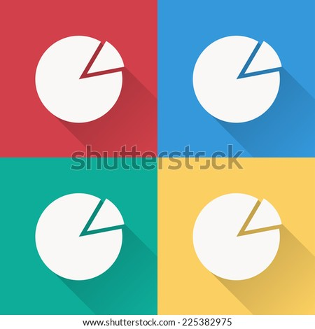 pie chart icon , flat design on 4 color background - stock vector