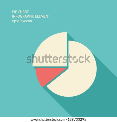 Pie chart infographic element in modern flat design with long shadows suitable for presentations, reports, etc. Eps10 vector illustration. - stock vector