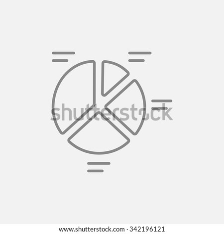 Pie chart line icon for web, mobile and infographics. Vector dark grey icon isolated on light grey background. - stock vector